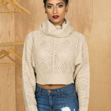 Cozy Up Crop Sweater (Oatmeal)