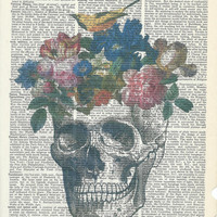 Book Print Skull Vase with Flowers on Vintage Upcycle Book Page Print Art Print Dictionary Print Collage Print