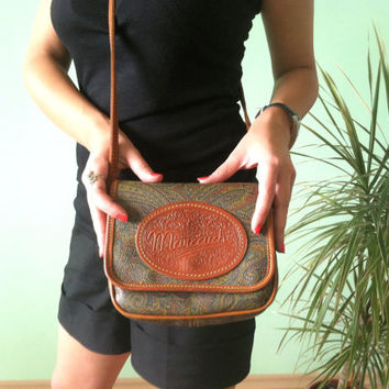 80s Marccuchi Bag, Paisley Print Purse in Brown and Green, Indie Mini Pouch, Boho Crossbody Bag, Hippie Tribal Purse, Small Shoulder Bag