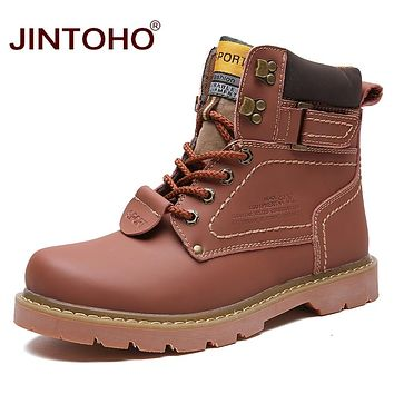 Winter Men Boots Male Genuine Leather Boots Work & Safety Boots Fashion Winter Genuine Leather Work Shoes