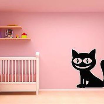 Wall Stickers Vinyl Decal Black Cheshire Cat Alice In Wonderland Unique Gift (z1787)