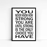 """Motivational Print Typography Poster """"You are strong"""" Bob Marley Wall Decor Inspirational Print Home Decor Motivated Quote Motivated Print"""