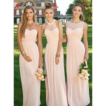 2017 Peach A Line Maid of Honor Gowns Cheap Long Bridesmaid Dresses Chiffon Summer Beach Bridesmaid Gowns Custom Made A b C