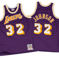 Mitchell & Ness Magic Johnson 1984-85 Authentic Jersey Los Angeles Lakers In Purple