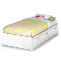 Twin Size Platform Day Bed with 3 Drawers in White Finish