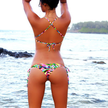 "Neon Graffiti ""Lalo"" String Bikini Bottom"
