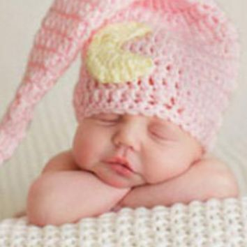 Pink With Yellow Moon And Stars Baby Newborn Prop Hat - CCC126