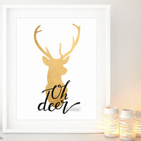 Oh deer printable fall decor featuring faux gold foil deer head silhouette