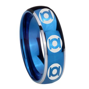 8MM Glossy Blue Dome Multiple Green Lantern Tungsten Carbide 2 Tone Laser Engraved Ring