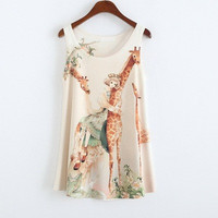Genesis Sleeveless Giraffe Printed Top