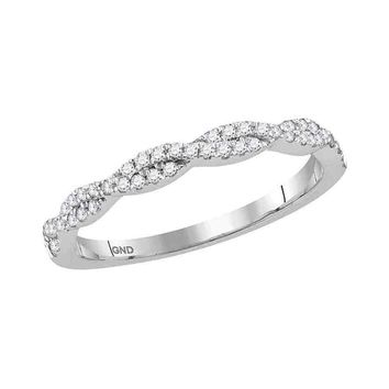 10kt White Gold Womens Round Diamond Woven Twist Stackable Band Ring 1/4 Cttw