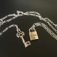 Love Lock and Key Silver Chain Necklace