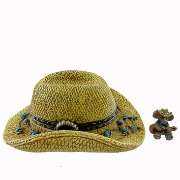 Boyds Bears Resin Paisley's Hat With Strings Mcnibble Treasure Box