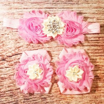 Pink and Cream Baby Barefoot Sandals and Headband - Baby Barefoot Sandals - Baby Girl Headband- Headbands for Babies - Baby Girl Bows - Girl