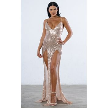 Indie XO Mystery Girl Champagne Sequin Sleeveless Spaghetti Strap Plunge V Neck Backless Double Slit Maxi Dress