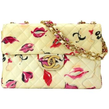 Vintage CHANEL jumbo large ivory 2.55 shoulder bag with pink and red lip pattern