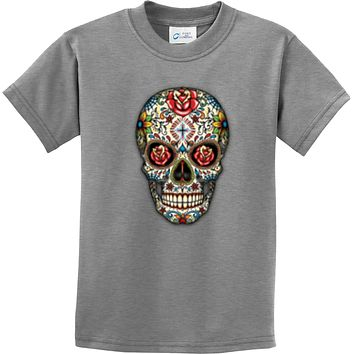 Kids Halloween T-shirt Sugar Skull with Roses Youth Tee