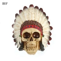 BUF Resin Craft Statues For Decoration Indian Style Skull Creative Skull Figurines Sculpture Home Decoration Accessories