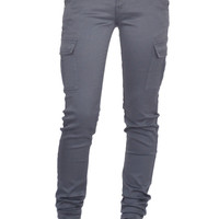 New Womens Grey Slim Fitted Combat Pants Skinny Cargo Trousers Boyfriend Jeans