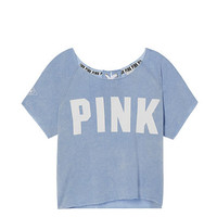 Lace-Up Cropped Crew - PINK - Victoria's Secret