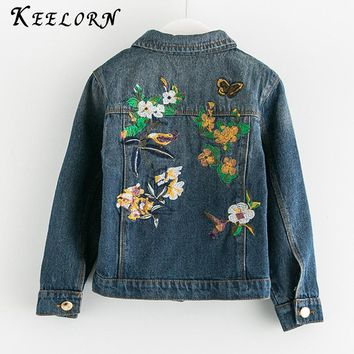 Keelorn Jackets & Coats 2017 Denim Jacket Vintage Jeans Coats Toddler Boys Denim Jackets Girls Jean Jacket Sequins Embroidery