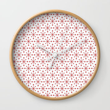 Red Snowflakes Wall Clock by kasseggs