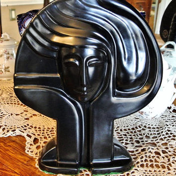 Mid Century Modernist Art Pottery Deco Revival Eames Era Circa 1950s 1960s Harris Potteries Chicago USA Statue Hollywood Regency Black Face