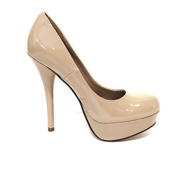 Patent Vegan Leather Platform Heels In Nude