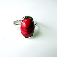 Red Turquoise Ring Solitaire Stone On Silver Band Size 7.5 Southwestern Jewelry Vintage Collectible Gift Item 2235
