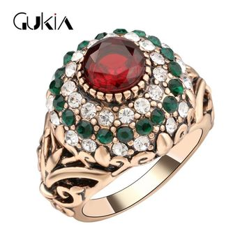 Gukin Wedding Rings For Women Plating Ancient Gold Vintage Jewelry Ottoman Style Jewelry game of thrones Crystal Ring