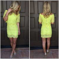 Kailani Lace Off Shoulder Dress - Chartreuse