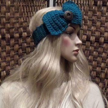 Teal Blue Knitted Crochet Bow Headband Knitted Bow Ear Warmer