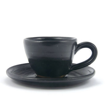 Espresso cup and saucer (black), rustic modern stoneware pottery