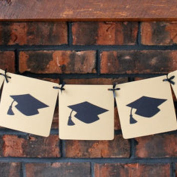 Graduation Banner (Tan with black caps) // Graduation Cap, Neutral Banner, Garland, Sign, Graduation Decoration, Party Decor,