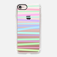 Pastel Rainbow Stripes - Transparent/Clear Background iPhone 7 Case by Lisa Argyropoulos | Casetify