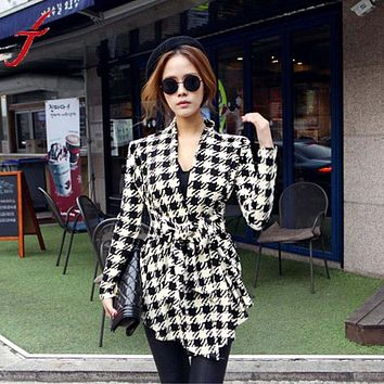 Korean Summer Style Belt Womens Jacket Casaco Houndstooth Pattern Thin Sweaters