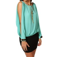Mint Long Sleeve Gold Plated Cuff Top