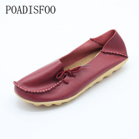 POADISFOO 2017 New Women's Genuine Leathers Shoes Cow Leather Casual Fashion Shoes Soft Rubber Shoes 18 Plus Size  44 .CQY-911