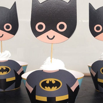 Cute Batman Cupcake Holders, Superhero Cupcake Holders, 3 Dimensional batman cupcake holders