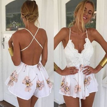 Women Fashionable Hollow Out  Jumpsuits & Rompers 0937-68