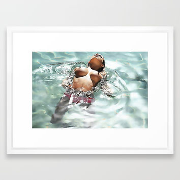Sexy in Pool, erotic nude, hot brunette swimming in pool topless, kinky woman naked Framed Art Print by hmdesignspl