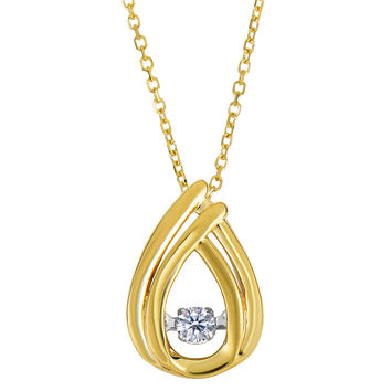 14k Yellow Gold Pear Shaped Dancing Diamonds 18 Inch Necklace - 0.10ct. Diamond