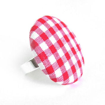 Large red gingham button ring - summer fabric ring -  picnic statement ring white plaid tartan check