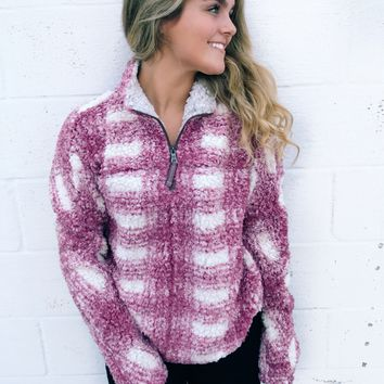 True Grit Big Plaid Frosty Tipped 1/4 Zip Pullover - Vintage Wine