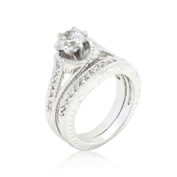 Yetta Round Engagement and Wedding Ring Set | 2.5ct | Cubic Zirconia | Silver