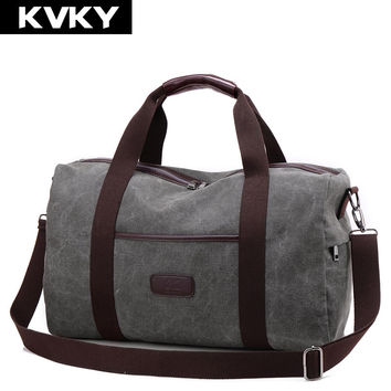 KVKY New Vintage Canvas Men Travel Bags Large Capacity Handbags Carry on Luggage bags Men Duffel bag Multifunctional Travel Tote