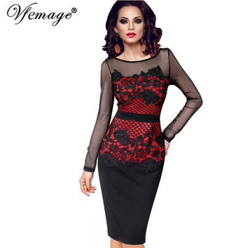 Vfemage Womens Elegant Sexy See Through Crochet Belted Patchwork Party Evening Club Special Occasion Fitted Bodycon Dress 4015