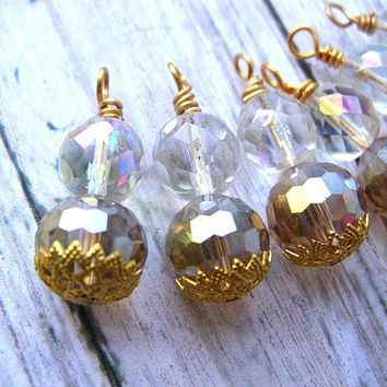 6 Glass Bead Charms, Champagne Bead Dangles, Bead Drops, Earrings Dangles