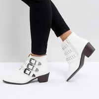 Miss Selfridge Multi Buckle Heeled Western Boots at asos.com