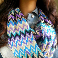 Purple Blue infinity chevron Chiffon Scarf